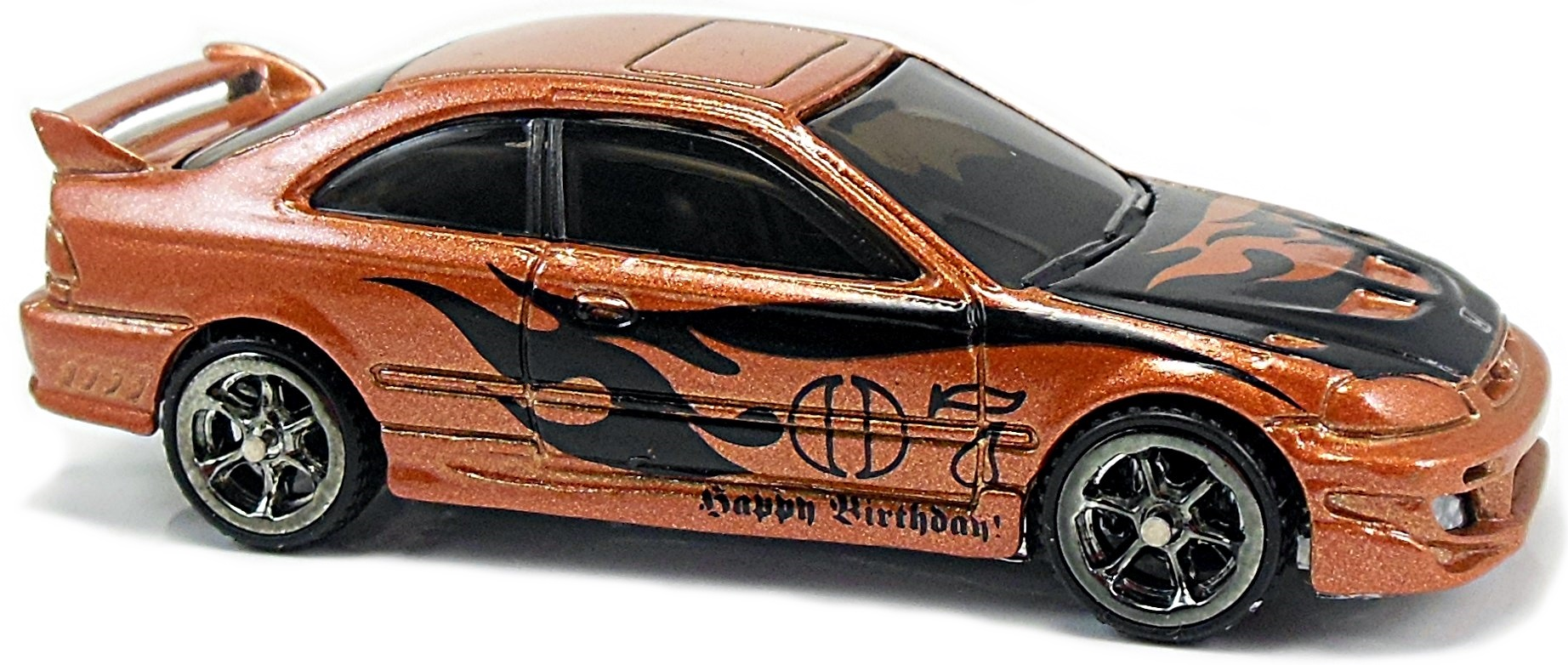 N. Mf Dk. Orange, Chrome Base, Black Int., Tinted Windows, Black Flames On  Sides And Hood, W/u201d07u201d And U201cHappy Birthdayu201d On Sides, Rrw6tnt, Th. Hot  Wheels ...