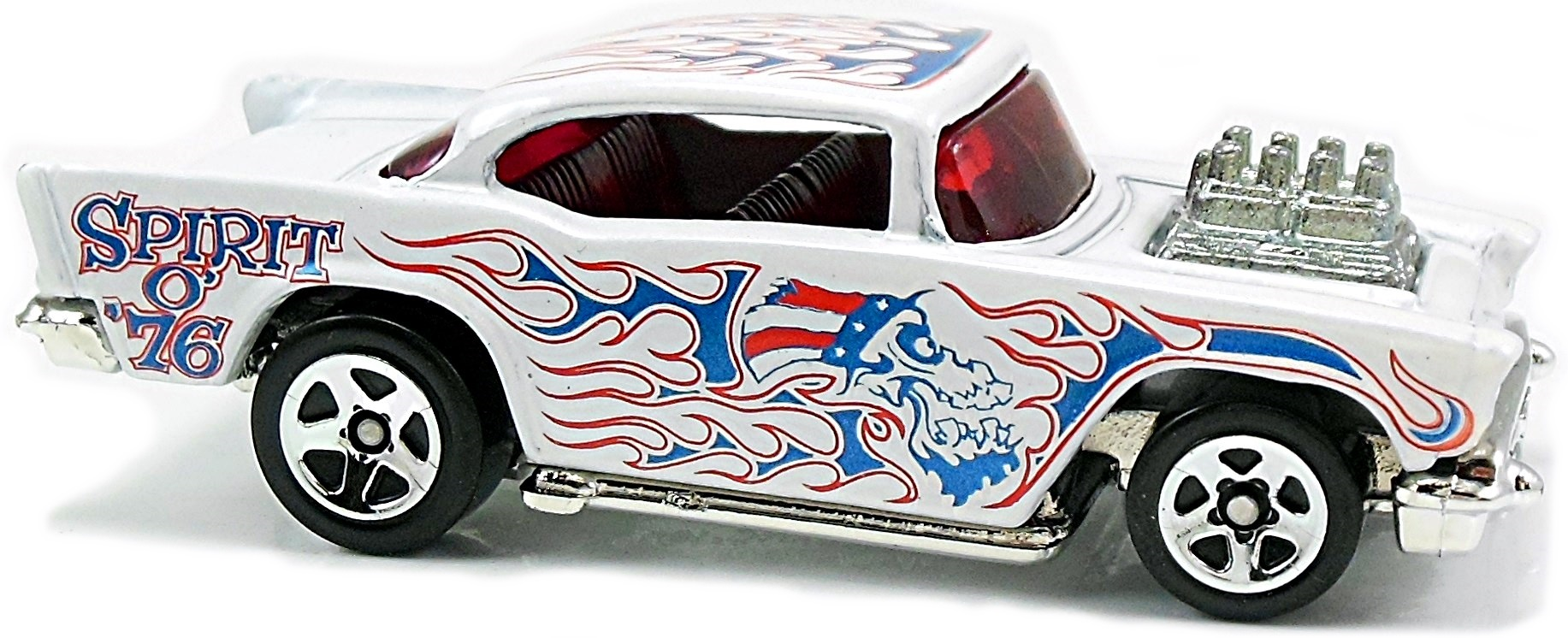 57 Chevy Exposed Engine 73mm 1984 Hot Wheels Newsletter 1976 Spirit Of 76 Truck Bf Pearl White Chrome Base Red Int And Windows Met Blue Flames On Roof Sides Sp5 Fourth July 2009 1 3